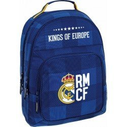 CARTERA ESCOLAR SAFTA REAL MADRID BLUE MOCHILA DOBLE ADAPTABLE A CARRO 320X420X160 MM