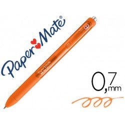 Boligrafo Paper Mate Inkjoy Retractil Gel 0,7 mm Color Naranja