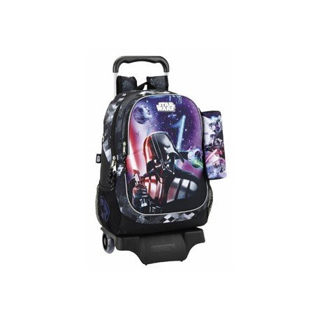 CARTERA ESCOLAR SAFTA CON CARRO STAR WARS SAGA 330X430X150 MM