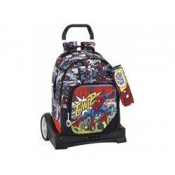 Mochila Escolar Doble Spiderman con ruedas y carro Evolution 32x15x42 cm Ultimate