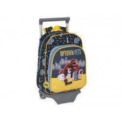 Mochila escolar Mascotas con ruedas y carro 26x11x34 cm