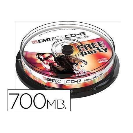 CR-R Emtec 700mb 80min velocidad maxima 52X 10 unidades