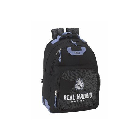 CARTERA ESCOLAR SAFTA REAL MADRID BLACK MOCHILA ADAPTABLE A CARRO 320X430X170 MM