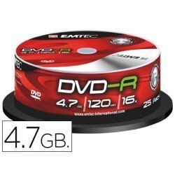 DVD-R Emtec 4,7GB 120min velocidad maxima 16X Tarrina 25 unidades