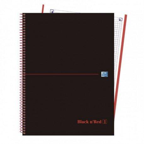 CUADERNO ESPIRAL OXFORD EBOOK 1 TAPA EXTRADURA DIN A4+ 80 H CUADRICULA 5 MM BLACK'N COLORS ROJO