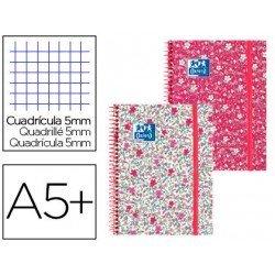 Cuaderno Oxford Ebook 1 DIN A5+ Floral Tapa Extradura con gomilla Cuadricula 5 mm
