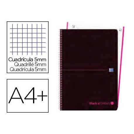 CUADERNO ESPIRAL OXFORD EBOOK 1 TAPA PLASTICO DIN A4+ 80 H CUADRICULA 5 MM BLACK'N COLORS ROSA