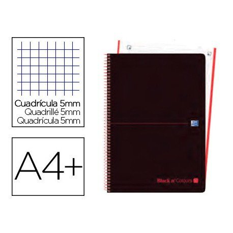 CUADERNO ESPIRAL OXFORD EBOOK 4 TAPA PLASTICO DIN A4+ 80 H HORIZONTAL BLACK'N COLORS NARANJA