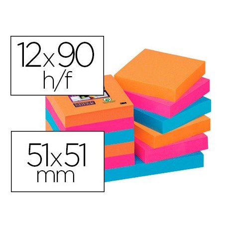 Bloc Quita y Pon Post-It ® Super Sticky 51X51 mm Colores Bangkok