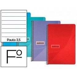 Cuaderno espiral Papercop Tamaño Folio Rayado Pauta 3,5 mm 90 gr Colores surtidos