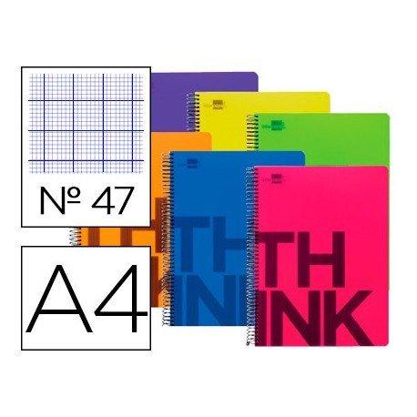 Cuaderno Liderpapel Think Folio Tapa Plastico Rayado Nº47 en Colores Surtidos