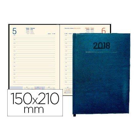 Agenda 2018 Encuadernada Creta Dia pagina 150X210 mm Azul Liderpapel