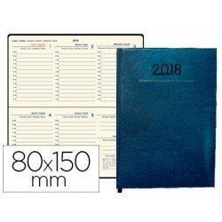 Agenda 2018 Encuadernada Creta Semana vista 80x150 mm Azul Liderpapel