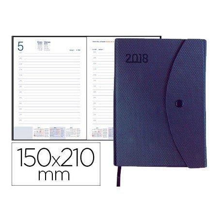Agenda 2018 Encuadernada Pilos Dia pagina DIN A5 Azul con broche Liderpapel
