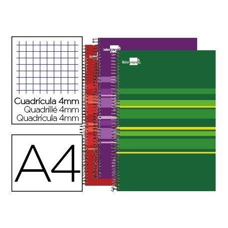 CUADERNO ESPIRAL LIDERPAPEL A4 MICRO CLASSIC TAPA FORRADA 160 GR 60 GR CUADRO4MM 5 BANDAS 4 TALADROS COLORES SURTIDOS S