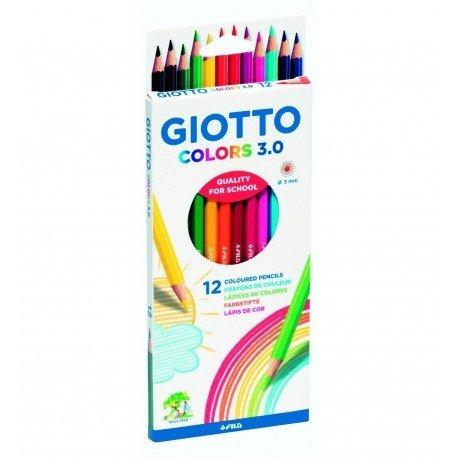 Lapices de colores marca Giotto colors 3.0 caja de carton de 12 lapices