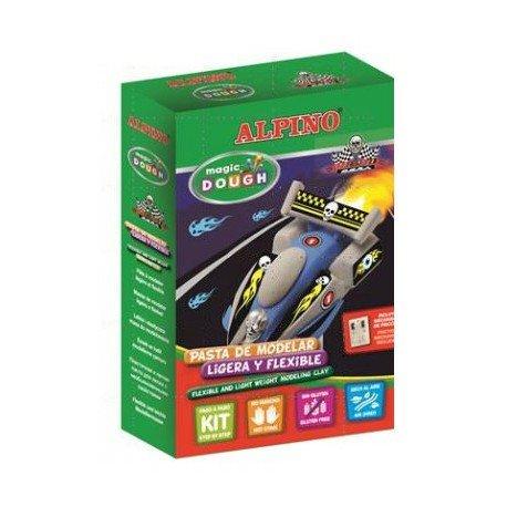 Pasta para modelar marca Alpino Magic Dough rapid cars caja de 3 colores de 40gr