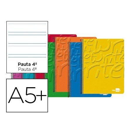 Bloc Cuarto espiral Tapa cartoncillo impreso Write Liderpapel pauta 3.5 mm