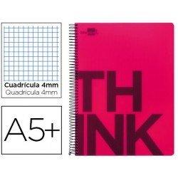 Bloc Cuarto marca Liderpapel serie Think cuadricula 4 mm rojo