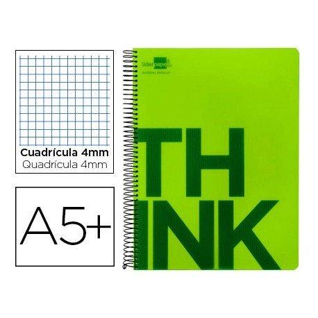 Bloc Cuarto marca Liderpapel serie Think cuadricula 4 mm verde