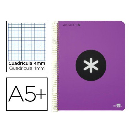 Bloc Antartik A5+ Cuadrícula tapa Dura 100g/m2 Violeta con margen