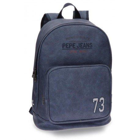Mochila Pepe Jeans Piel Sintética 31x42x13 cm Jack Azul adaptable a carro