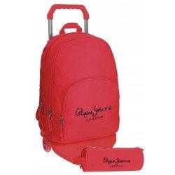 Mochila Pepe Jeans Poliéster 42,5x30,5x15 cm Harlow Roja con ruedas + estuche escolar