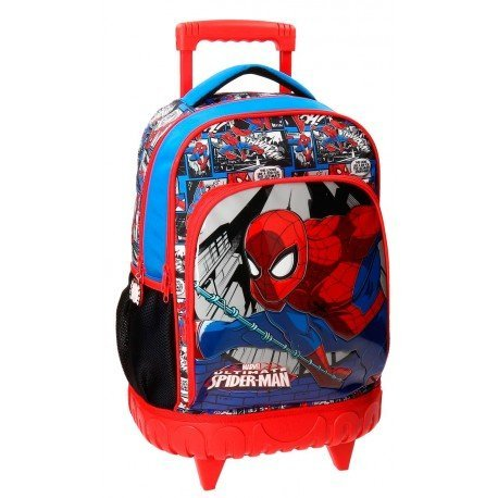 Mochila Spiderman Microfibra 32x43x21 cm Comic Roja doble compartimento con ruedas