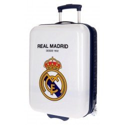 Maleta de cabina 55x36x20 cm Rígida 2 ruedas Real Madrid Blanca