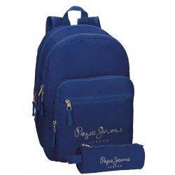 Mochila Pepe Jeans Poliéster 42,5x30,5x15 cm Harlow Azul Marino + estuche escolar