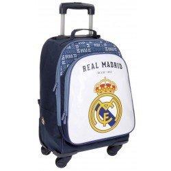 Maleta juvenil 50x32x21 cm Blanda 2 ruedas Real Madrid Champions Blanca