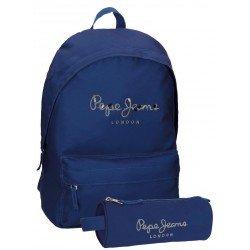 Mochila Pepe Jeans Poliéster 42x31x17,5 cm Harlow Azul Marino + estuche escolar