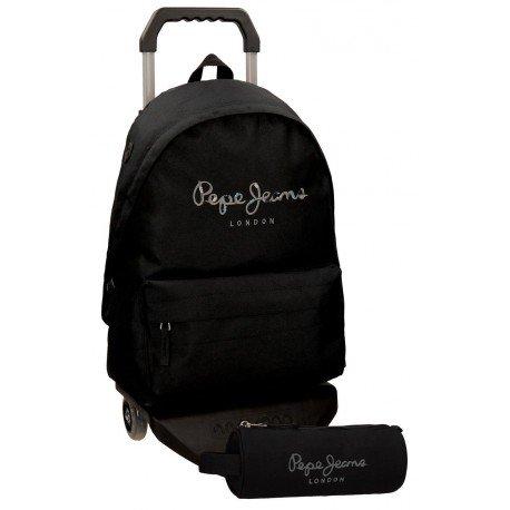 Mochila Pepe Jeans Poliéster 42,5x30,5x15 cm Harlow Negra con ruedas + estuche escolar