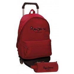 Mochila Pepe Jeans Poliéster 42x31x17,5 cm Harlow Roja con ruedas + estuche escolar