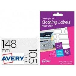 Etiquetas Adhesivas Avery Textil. 30 etiquetas tamaño surtido y color blanco