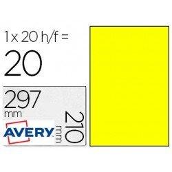Etiqueta Adhesiva Avery 210x297 mm Poliester Amarillo. Caja de 20 hojas