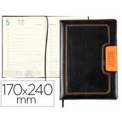 Agenda 2018 Encuadernada Dorios Dia pagina 170x240 mm Negro y naranja Liderpapel