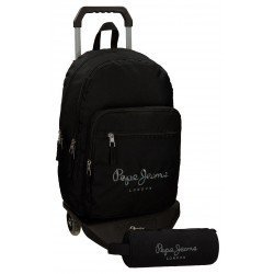 Mochila Pepe Jeans de Poliéster 42x30x15 cm Harlow Negro con ruedas + estuche escolar