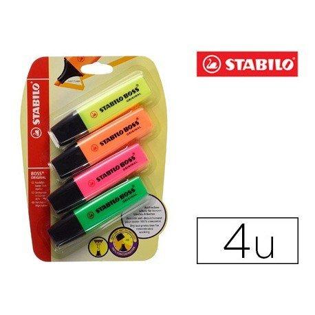 Rotulador Stabilo Boss Fluorescente 70 Pack de 4 unidades Colores Surtidos