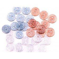 Boton de plastico con Purpurina colores pastel 15 mm itKrea