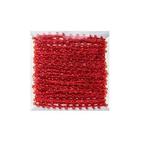 Hilo con perlas color rojo 4,5 mt itKrea