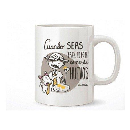 TAZA CERAMICA LOVE&CHILD CUANDO SEAS PADRE COMERAS HUEVOS CAPACIDAD 300 CL APTA MICROONDAS Y LAVAVAJILLAS
