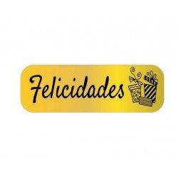 Etiqueta Felicidades color oro Arguval