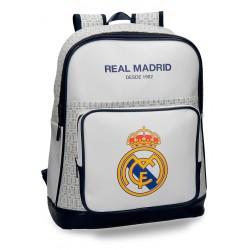 """Mochila para portátil 15,6"""" de Piel Sintética Real Madrid 42x33x15 cm White"""