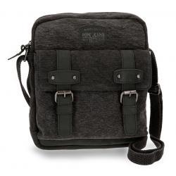 Bandolera Porta Tablet Pepe Jeans 27x23x6 cm de Lona Horse Negra