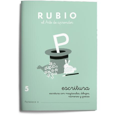 Cuaderno Rubio Escritura nº 5 Escritura con minúsculas, dibujos, números, grecas con letra continua