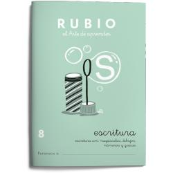 Cuaderno Rubio Escritura nº 8 Escritura con minúsculas, dibujos, números, grecas con letra continua