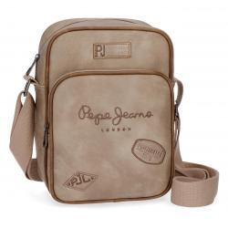 Bandolera 25x18x6,5 cm Pepe Jeans Duetone Camel Bolsillo Frontal con cremallera