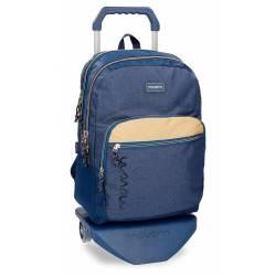 Mochila escolar Movom 42,5x30,5x15 cm Poliéster Babylon Azul con carro