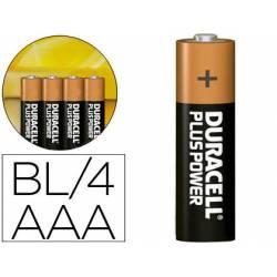 Pilas Duracell alcalina plus AAA -blister con 4 pilas